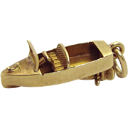 Vintage 14K Gold 3D Mechanical Motor Boat Charm 1930s