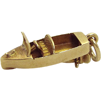 Vintage 14K Gold 3D Mechanical Motor Boat Charm 1930s