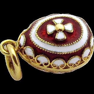 Vintage 14K Gold Solid 3D Enameled Russian Egg Charm