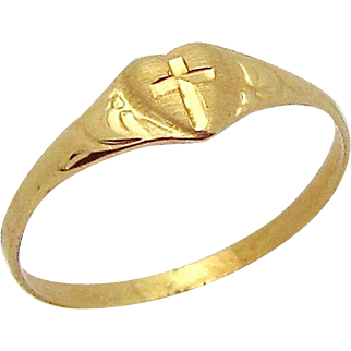 Vintage 10K Yellow Gold Heart with Cross Religious Baby Ring or Charm