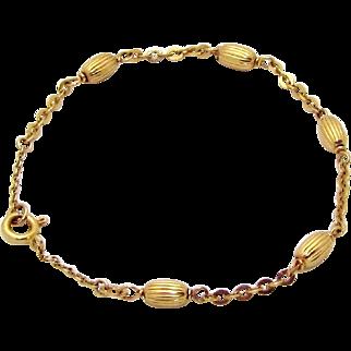 Vintage 18K 750 Yellow Gold Corrugated Oval Bead Bracelet