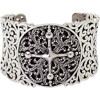 Lois Hill 925 Sterling Silver Granulated Dot & Hammered Scroll Filigree Cuff Bracelet RETIRED