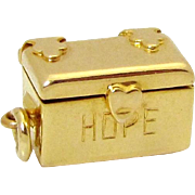 "Vintage 14K Gold 3D Hope Chest Charm ""Opens to an Enameled Man Inside!"""