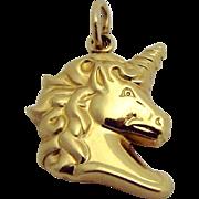 Vintage 14K Yellow Gold Unicorn Charm/Pendant Carla Corp. 1980s