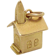 Vintage 10K Gold 3D Walter Lampl Church with Steeple Chapel Charm 1937
