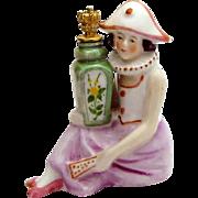 Vintage Art Deco Carnival Girl with Urn German Figural Crown Top Perfume Bottle