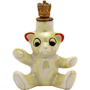 Vintage Art Deco Teddy Bear German Crown Top Figural Perfume Bottle