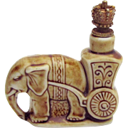 Vintage Elephant with Cart Schafer & Vater German Crown Top Figural Perfume Bottle