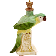 Vintage Art Deco Green Macaw Parrot German Crown Top Figural Perfume Bottle