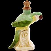 Vintage Green Macaw Parrot German Crown Top Figural Perfume Bottle
