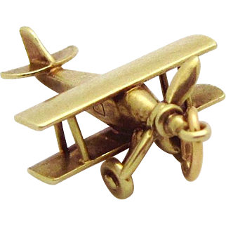 Vintage 14K Gold 3D Moveable Biplane Airplane Charm 1930s
