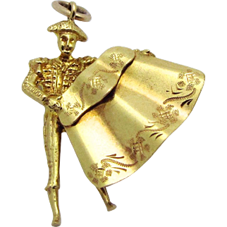 Vintage 19K Gold Portuguese Matador Spanish Bullfighter Torero Charm/Pendant 18K +
