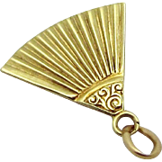 Vintage 14K Gold Art Deco Era Hand Fan Charm Sloan & Co. 1930s