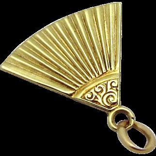Vintage 14K Gold Art Deco Era Hand Fan Charm Sloan & Co. 1930s