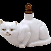 Beautiful White Cat Vintage German Crown Top Figural Perfume Bottle