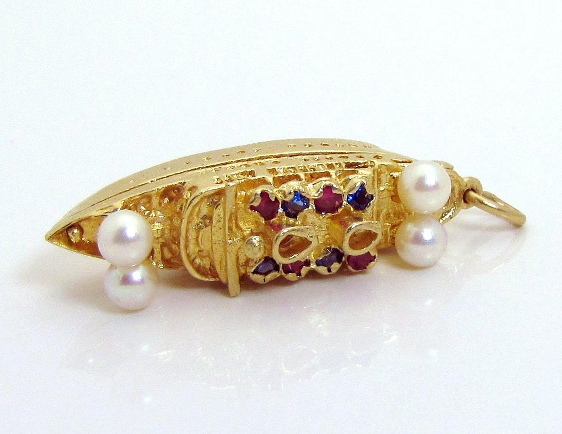 Vintage 14k Gold 3d Jeweled Bon Voyage Cruise Ship Travel