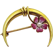 Antique Victorian 14K Gold Forget Me Not Flower with Pearl Crescent Moon Brooch Pin