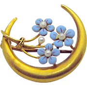 Antique Victorian 14K Gold Forget Me Not Flowers with Pearls Crescent Moon Brooch Pin
