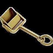 Vintage 14K Gold 3D Movable Standing Dustpan Charm 1930s Krementz & Co.