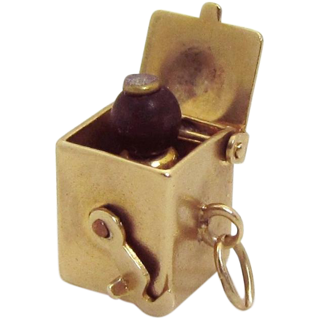Vintage 10K Gold 3D Mechanical Black Americana Jack in the Box Charm