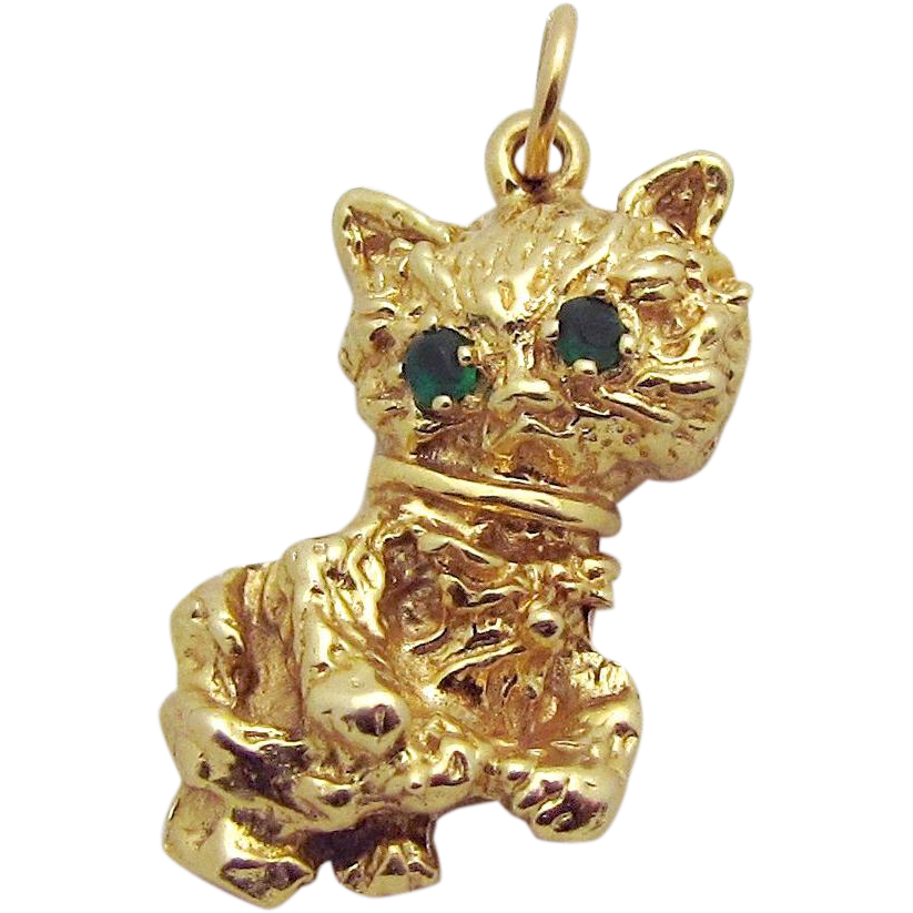 Vintage 14K Gold 3D *Adorable Kitten* Cat with Emerald Eyes Charm/Pendant 4.1 grams