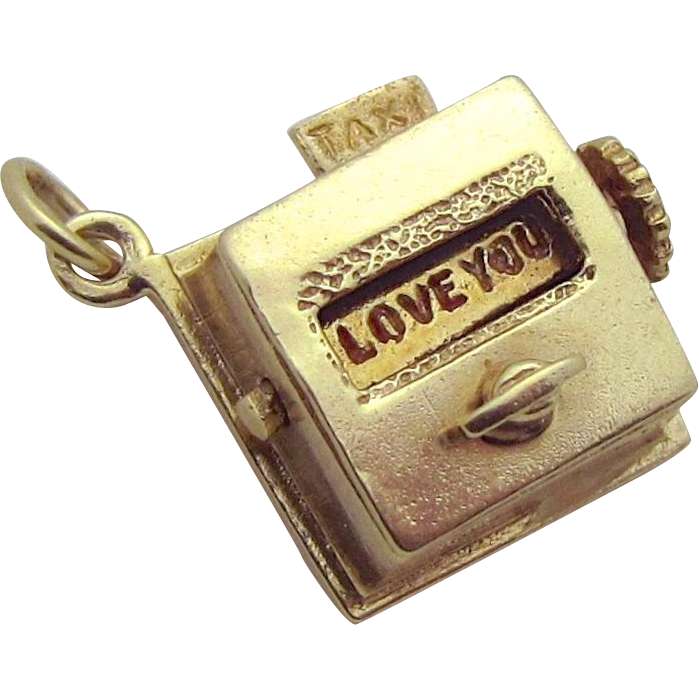 Vintage 14K Gold 3D Mechanical Taxi Love Meter Movable Charm