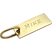 "Vintage 14K  Yellow Gold ""Mike"" Michael Mini Name Tag Bar Charm"
