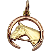 Vintage 14K Gold Art Deco Era *Horse in Horseshoe* Equestrian Good Luck Charm 1930s