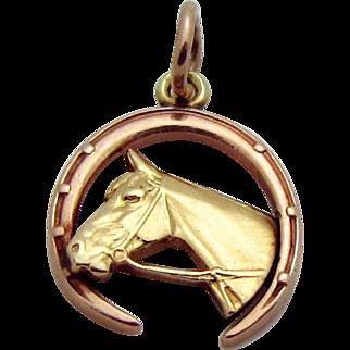 Vintage 14K Gold Art Deco Era *Horse in Horseshoe* Equestrian Good Luck Charm 1930s