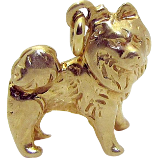 Vintage 14K Gold 3D Pomeranian Puppy Dog Charm Solid 3.2 Grams