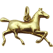 Vintage 14K Gold Art Deco 3D Trotting Horse Charm Carter, Gough and Co. 1920s
