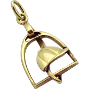 Vintage 14K Gold Jockey Cap in Stirrup Horseback Riding Charm Krementz & Co. 1930s