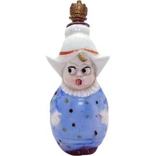 Vintage Little Dutch Girl with Googly Eyes German Crown Top Perfume Bottle