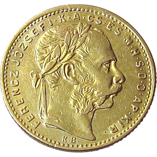 1882 Hungary 8 Forint 20 Francs Franz Joseph Gold Coin .900 Fine 22K