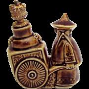 Vintage Schafer & Vater Man with Cart German Crown Top Figural Perfume Bottle