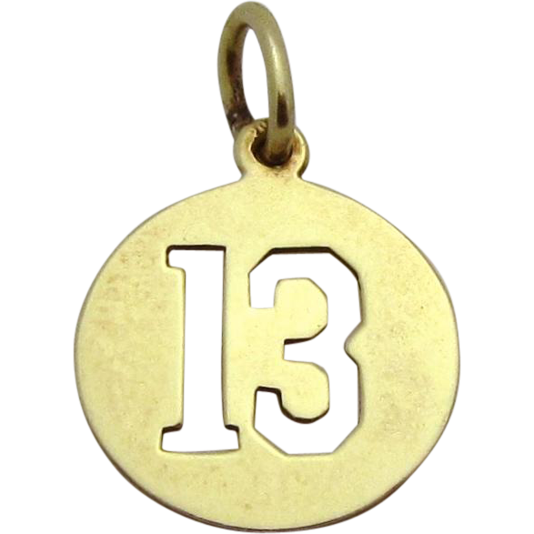 Vintage 14K Gold Lucky Number 13 Charm Sloan & Co. 1930s