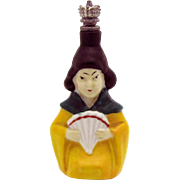 Vintage *Oriental Woman with Hand Fan* German Crown Top Figural Perfume Bottle