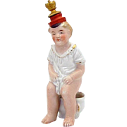 Art Deco Era Child on Chamber Pot Pooping out a Coin German Crown Top Perfume Bottle
