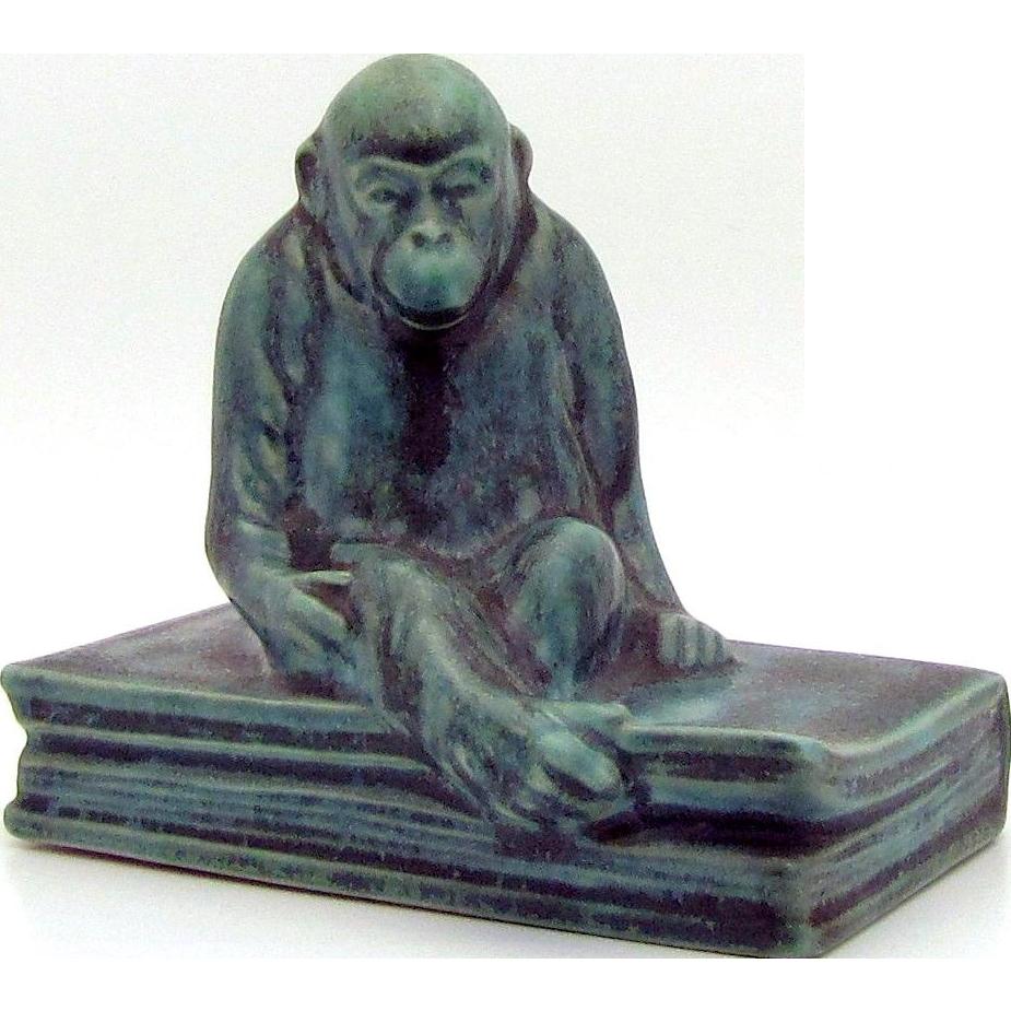 1935 Rookwood Art Pottery Green Glaze *Monkey on a Book* Paperweight Figurine w/Original Sticker