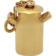 Vintage 14K Gold 3D Milk Can Charm w/Moveable Lid Carl-Art 1940s