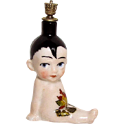 Vintage Kewpie Baby with Forelocks German Crown Top Figural Perfume Bottle