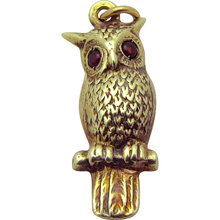 Vintage 14K Gold Sloan & Co. 3D Jeweled Owl Charm 1930s