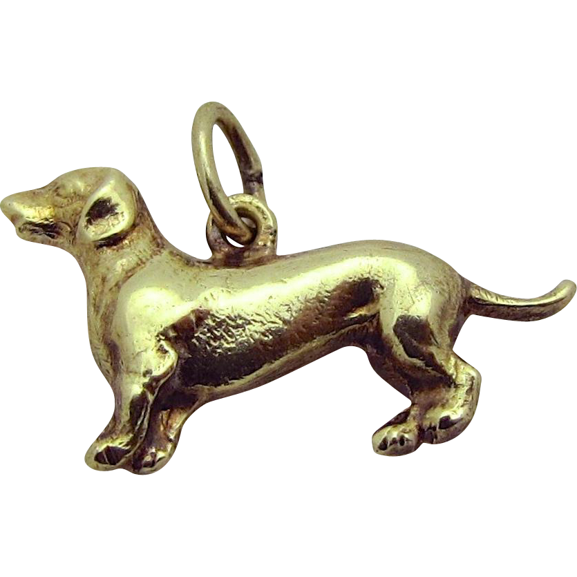 Vintage 14K Gold Sloan & Co. 3D Dachshund Wiener Dog Charm 1930s