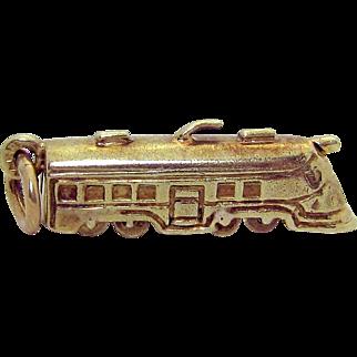 Vintage 14K Gold Sloan & Co. Steamliner Passenger Train Charm w/Moveable Wheels 1930s