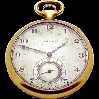 Vintage 1920 Elgin Gold Filled Pocket Watch Wadsworth 17 Jewels