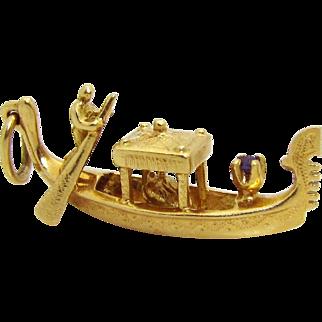 Vintage Nardi 18K Gold 750 Jeweled Sapphire Venezia Gondola Charm with Passengers 9.2 grams