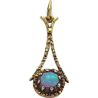 Antique Victorian 14K Yellow Gold Natural Radiant Opal Pendant