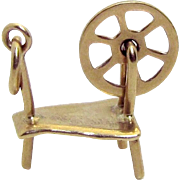 Vintage 10K Gold 3D Movable Spinning Wheel Charm 1940s