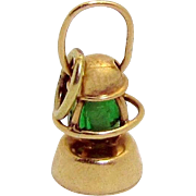 Vintage 14K Gold 3D Jeweled Movable Lantern Charm 1930s