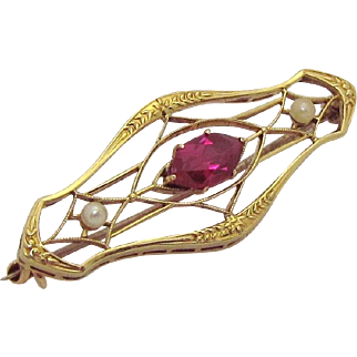 Antique Victorian 10K Yellow Gold Old Marquise Cut Ruby Brooch Pin with Pearls